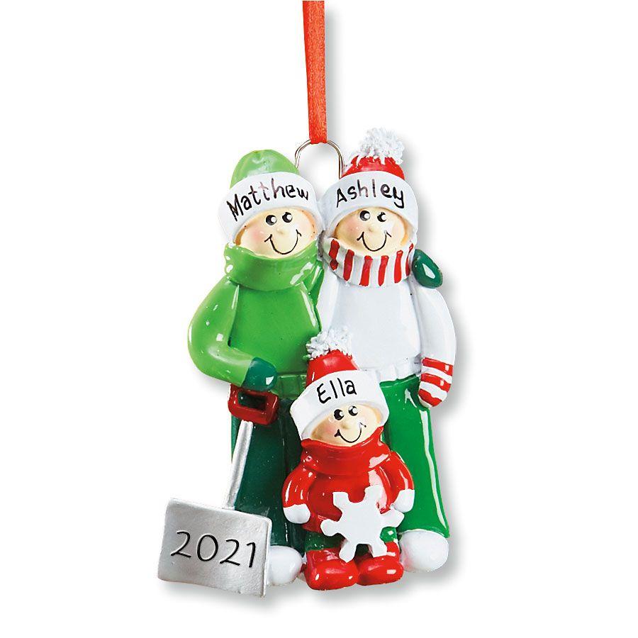 Snow Shovel Family Hand-Lettered Christmas Ornament