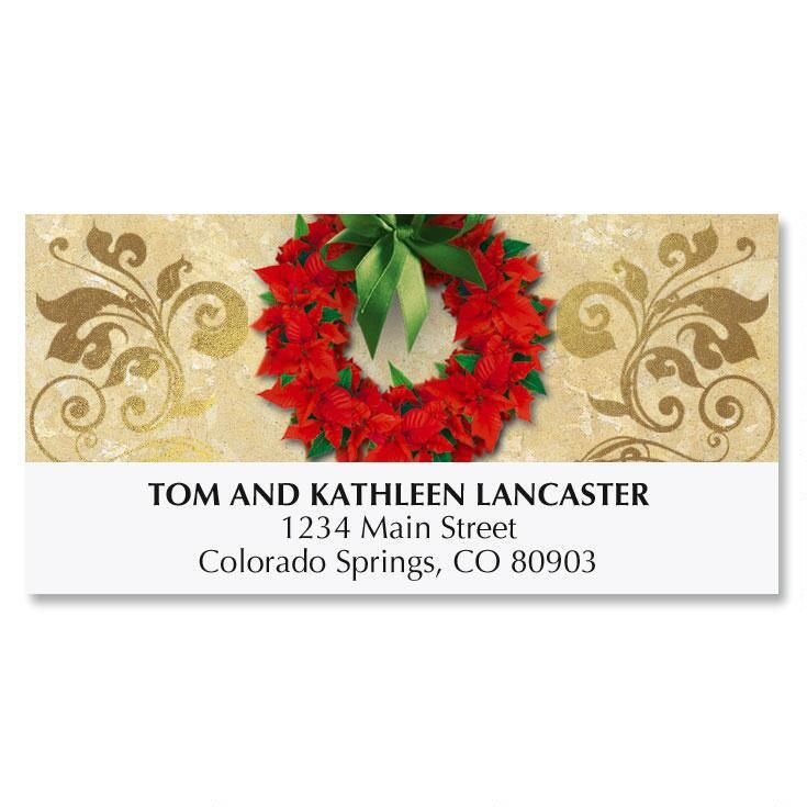 Poinsettia Wreath Christmas Address Labels
