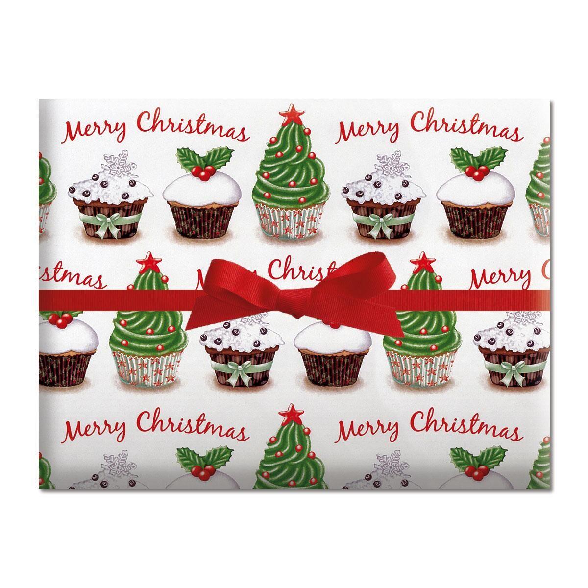 Christmas Cupcake Jumbo Rolled Gift Wrap