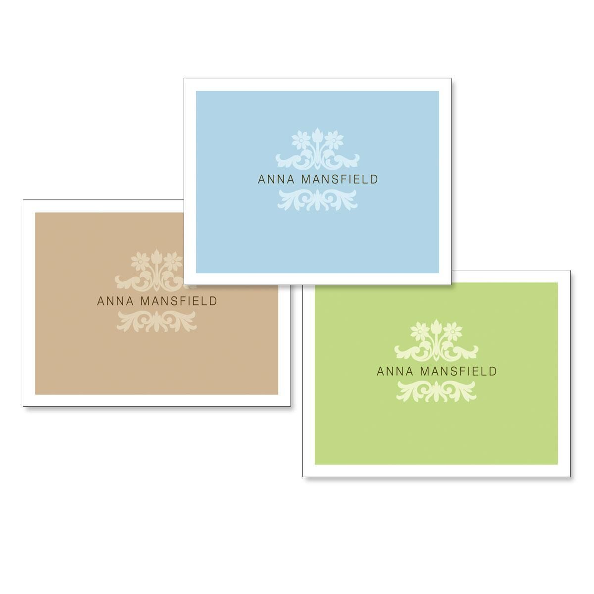 Color Block Personalized Note Cards  (3 Colors)