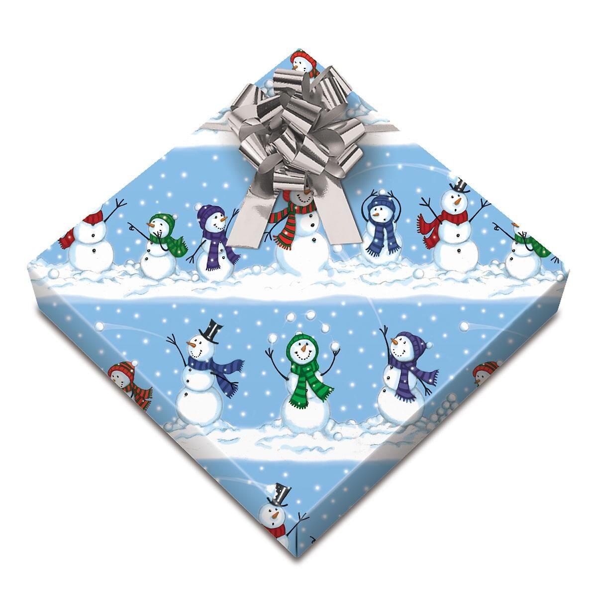 Snowman Snowball Toss Jumbo Rolled Gift Wrap