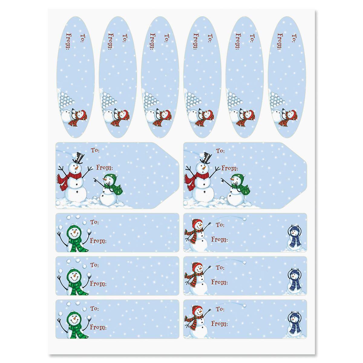Snowman Snowball Toss Labels