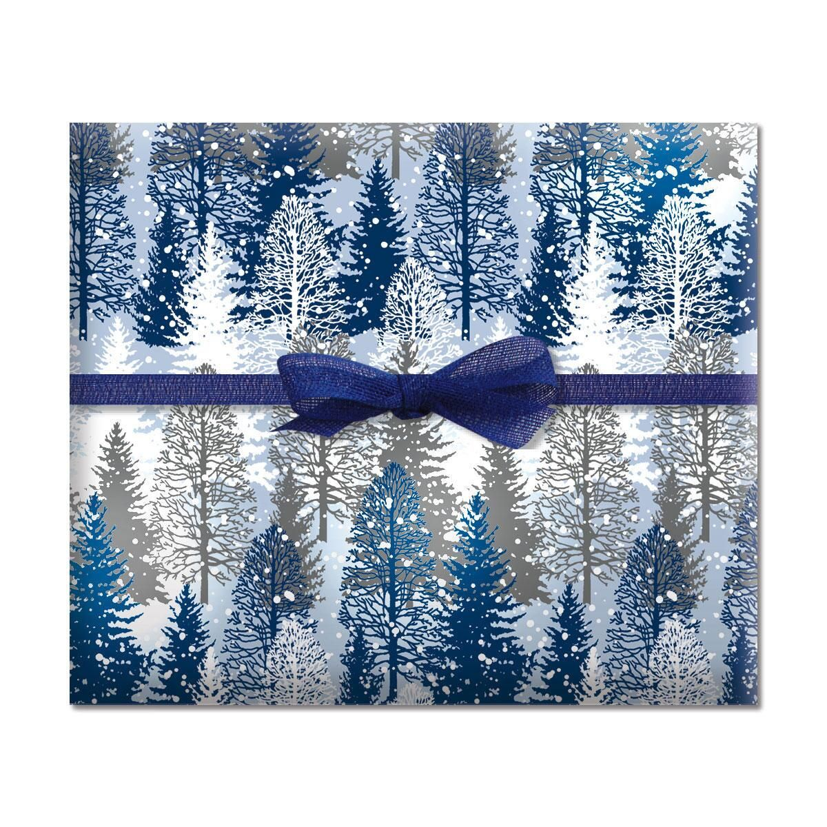 Snowy Trees Jumbo Rolled Gift Wrap
