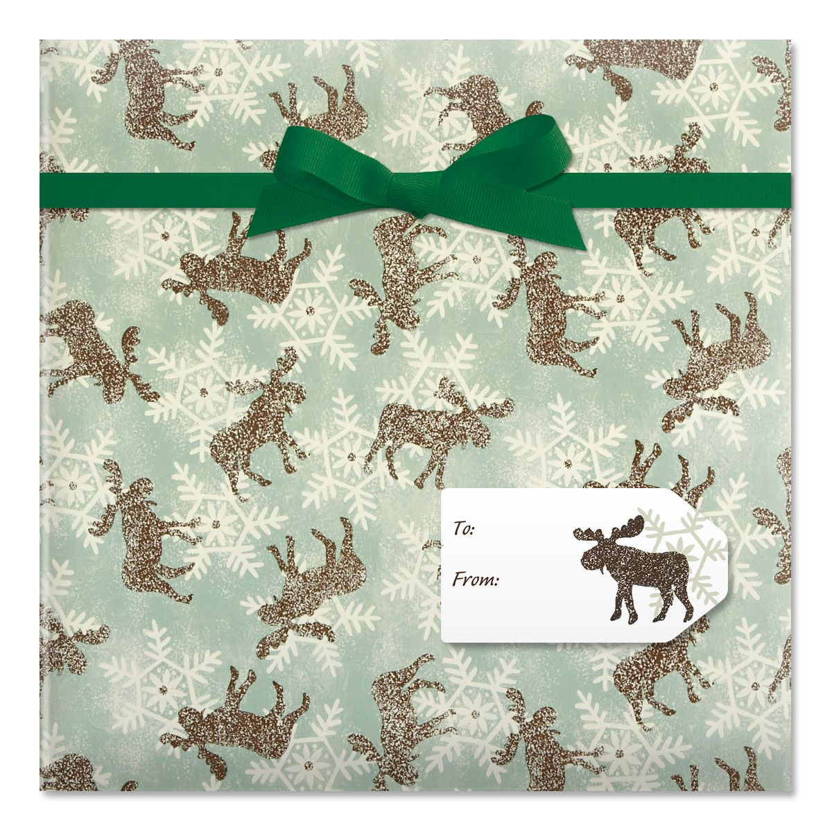 Moose & Snowflakes Jumbo Rolled Gift Wrap and Labels