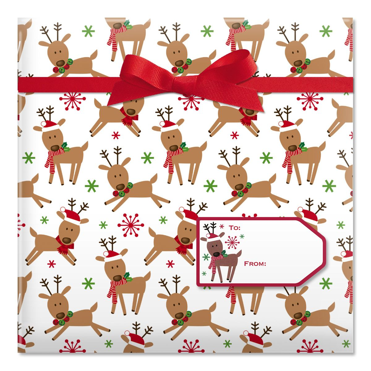 Merry Reindeer Jumbo Rolled Gift Wrap and Labels
