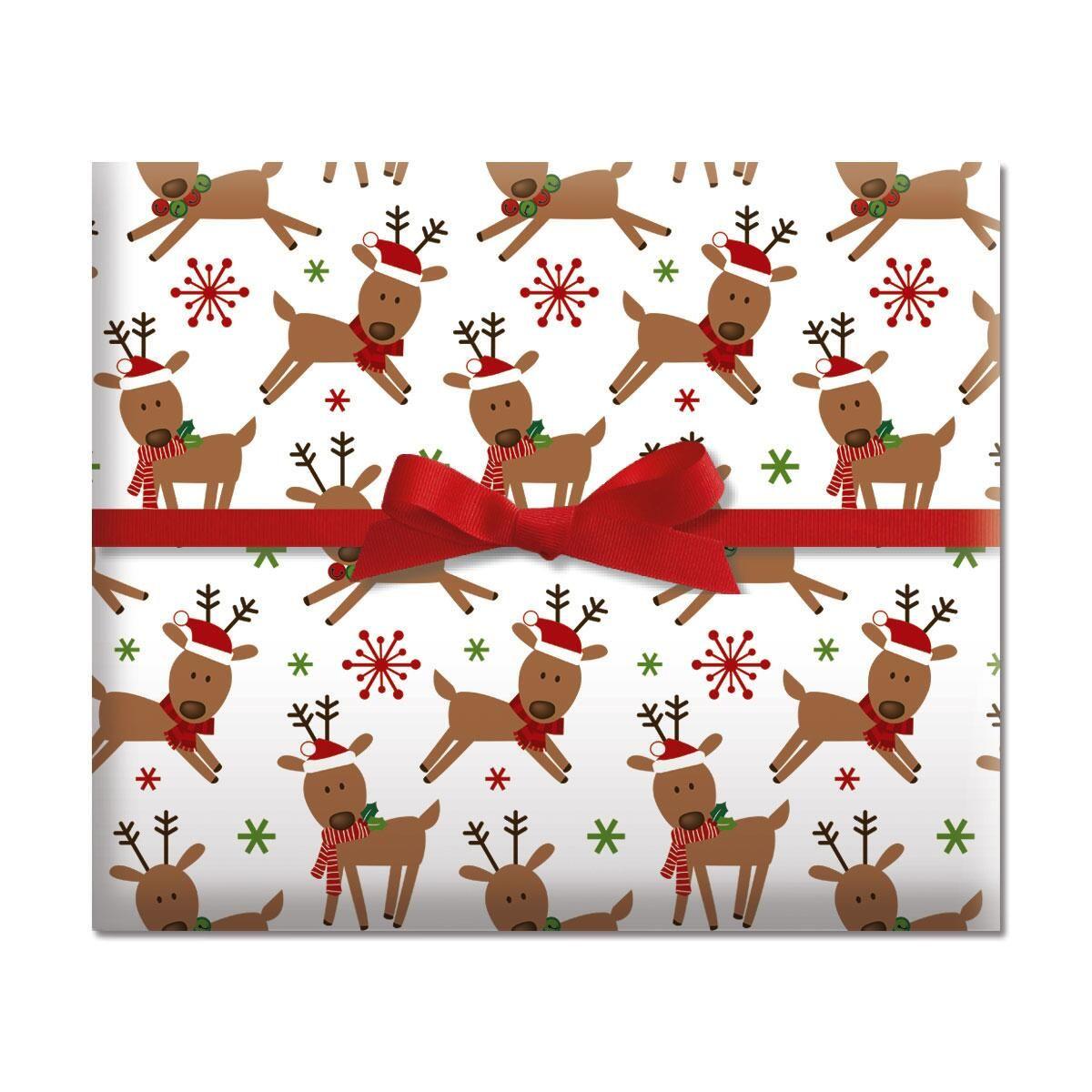 Merry Reindeer Jumbo Rolled Gift Wrap