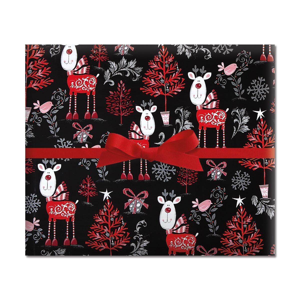 Reindeer on Black Jumbo Rolled Gift Wrap