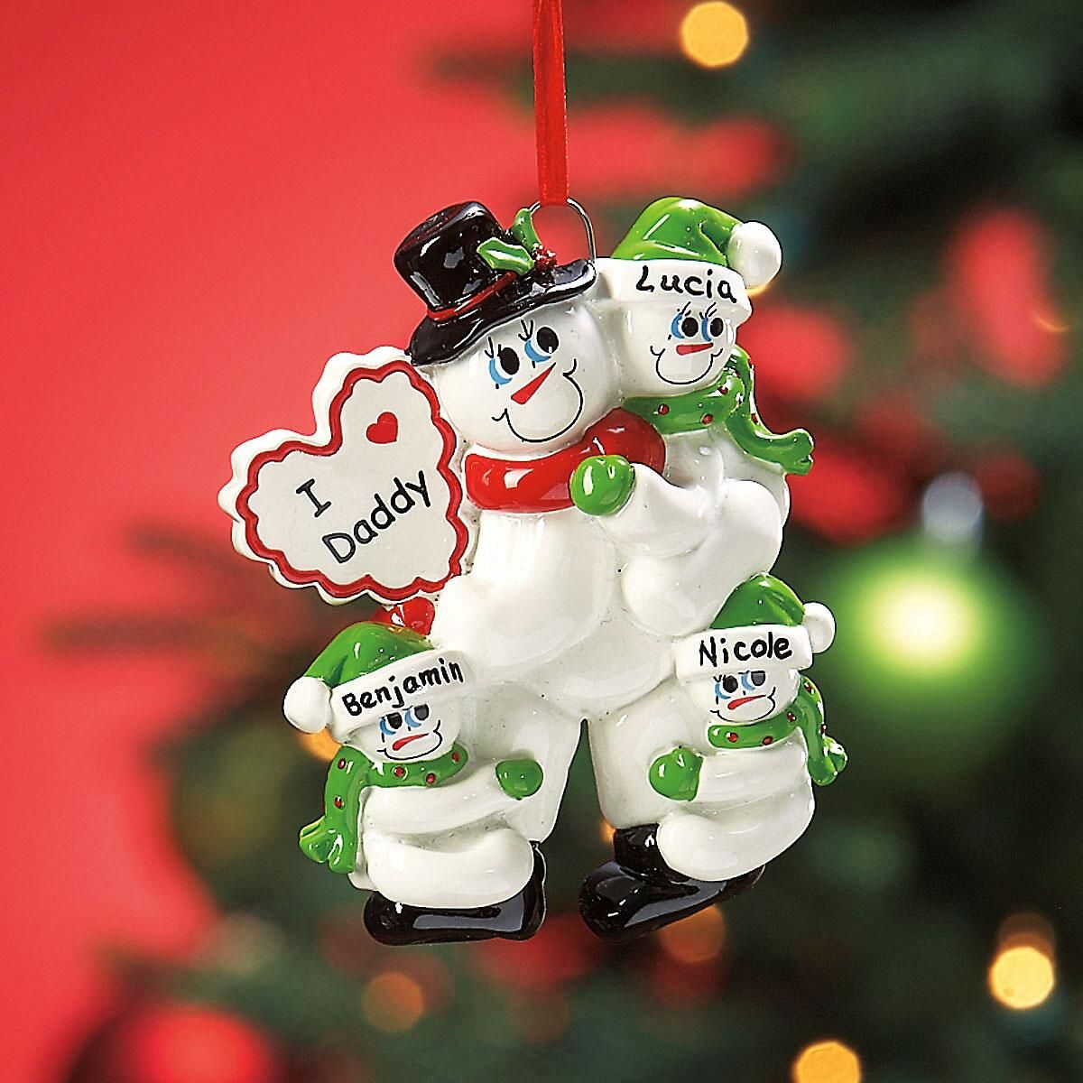 I Love Daddy Ornament with 3 Snow Kids