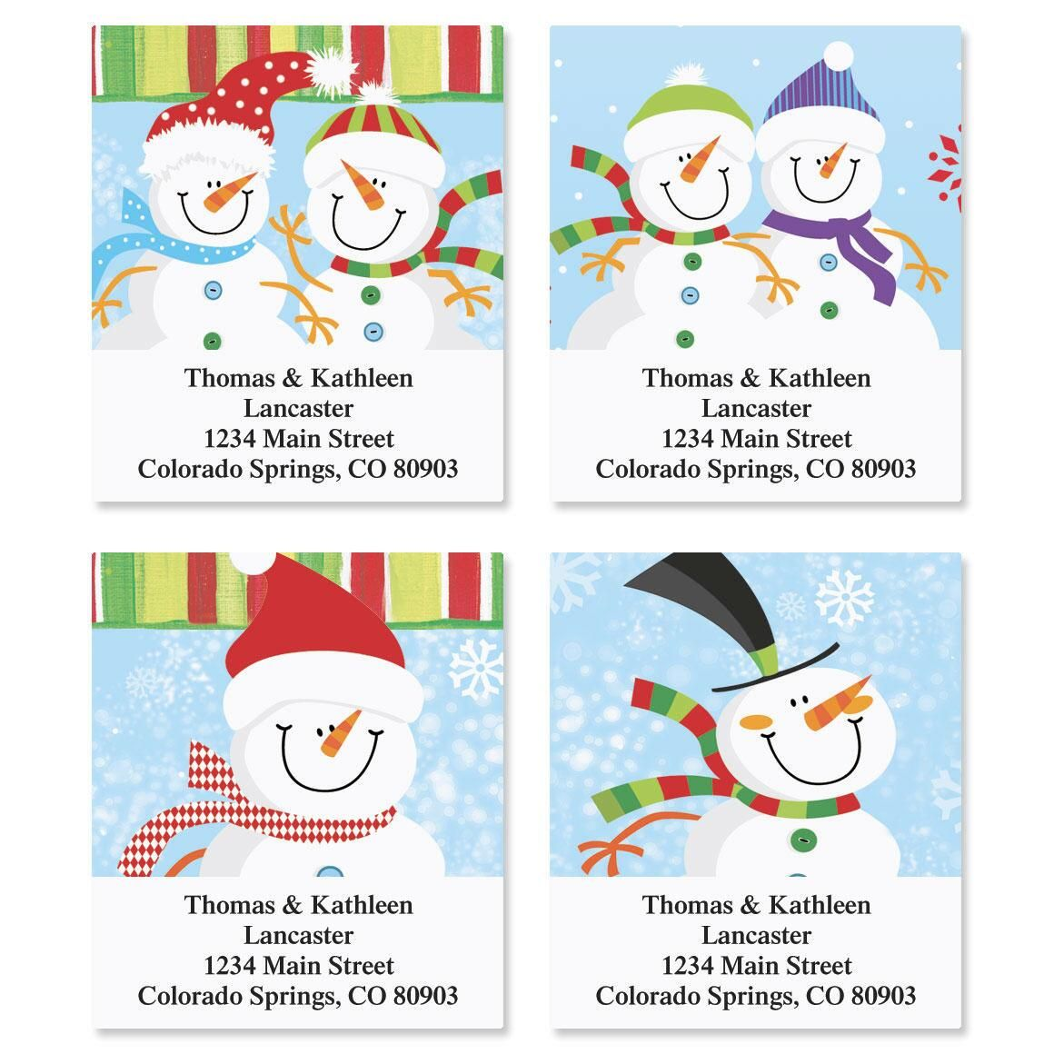 Happy Snowman Address Labels  (4 designs)