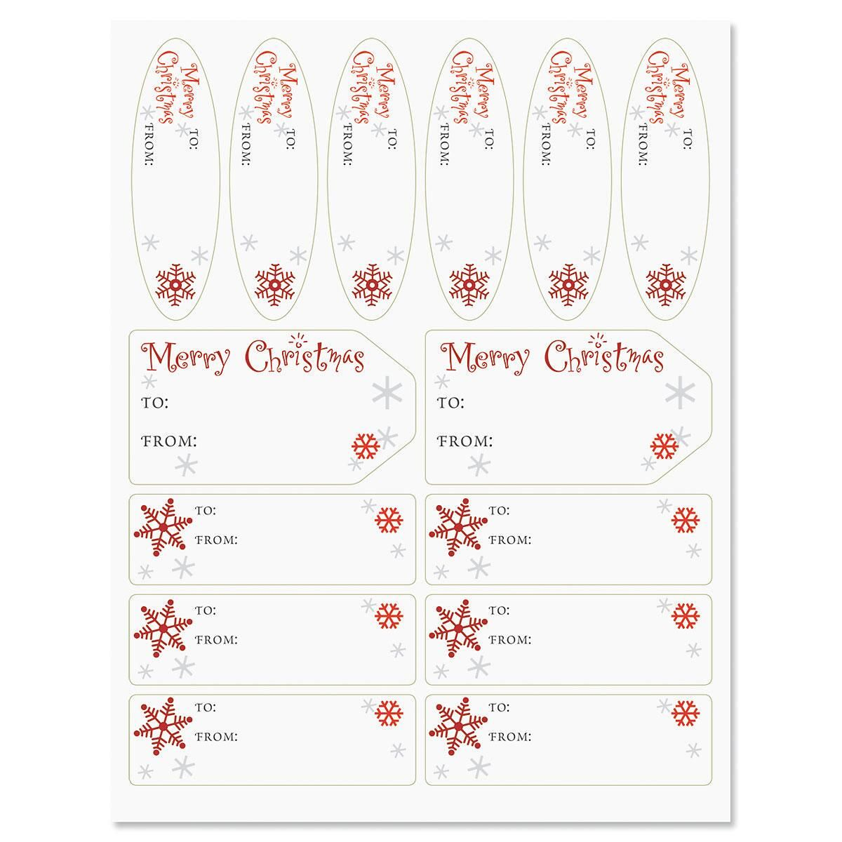 Merry Christmas Script Gift Wrap To/From Labels