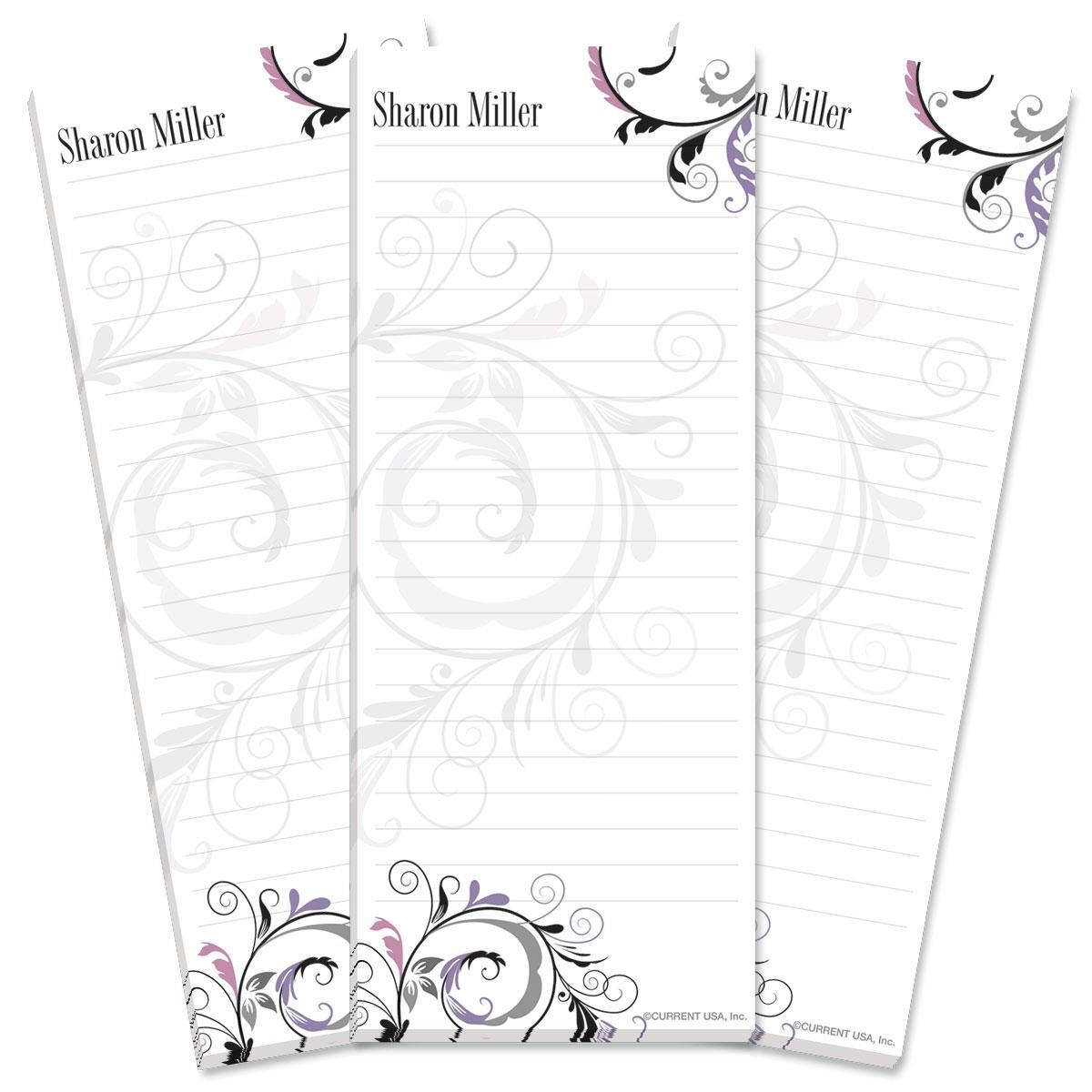 Black & Grey Fantasy Lined Shopping List Pad