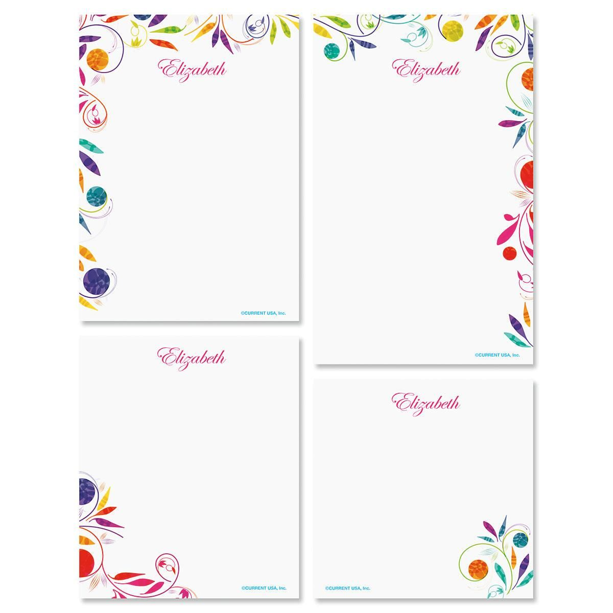 Color Swirl Personalized Notepad Set