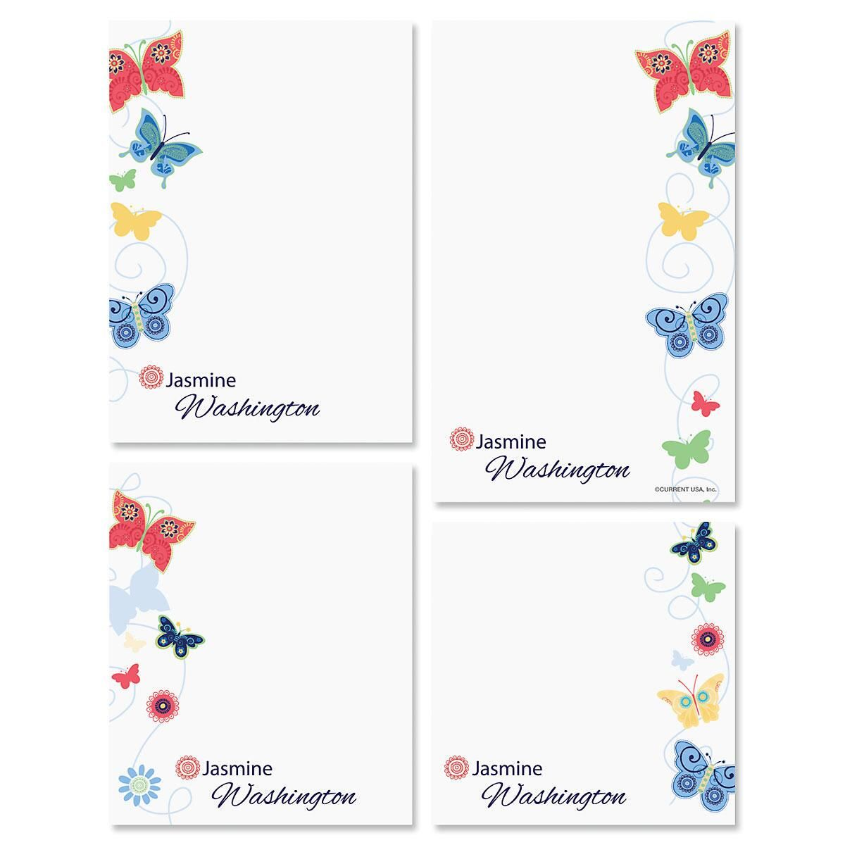 Delicate Butterflies Personalized Notepad Set