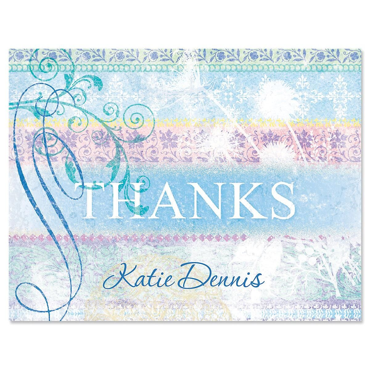 Antique Blues Personalized Thank You Cards