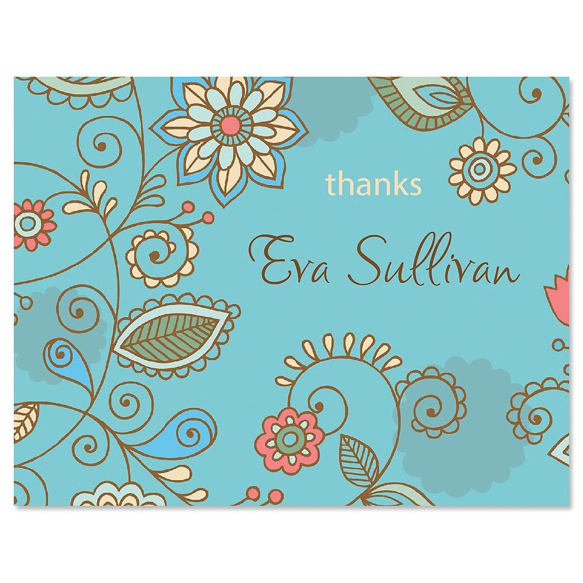 Paisley Blue Thank You Cards