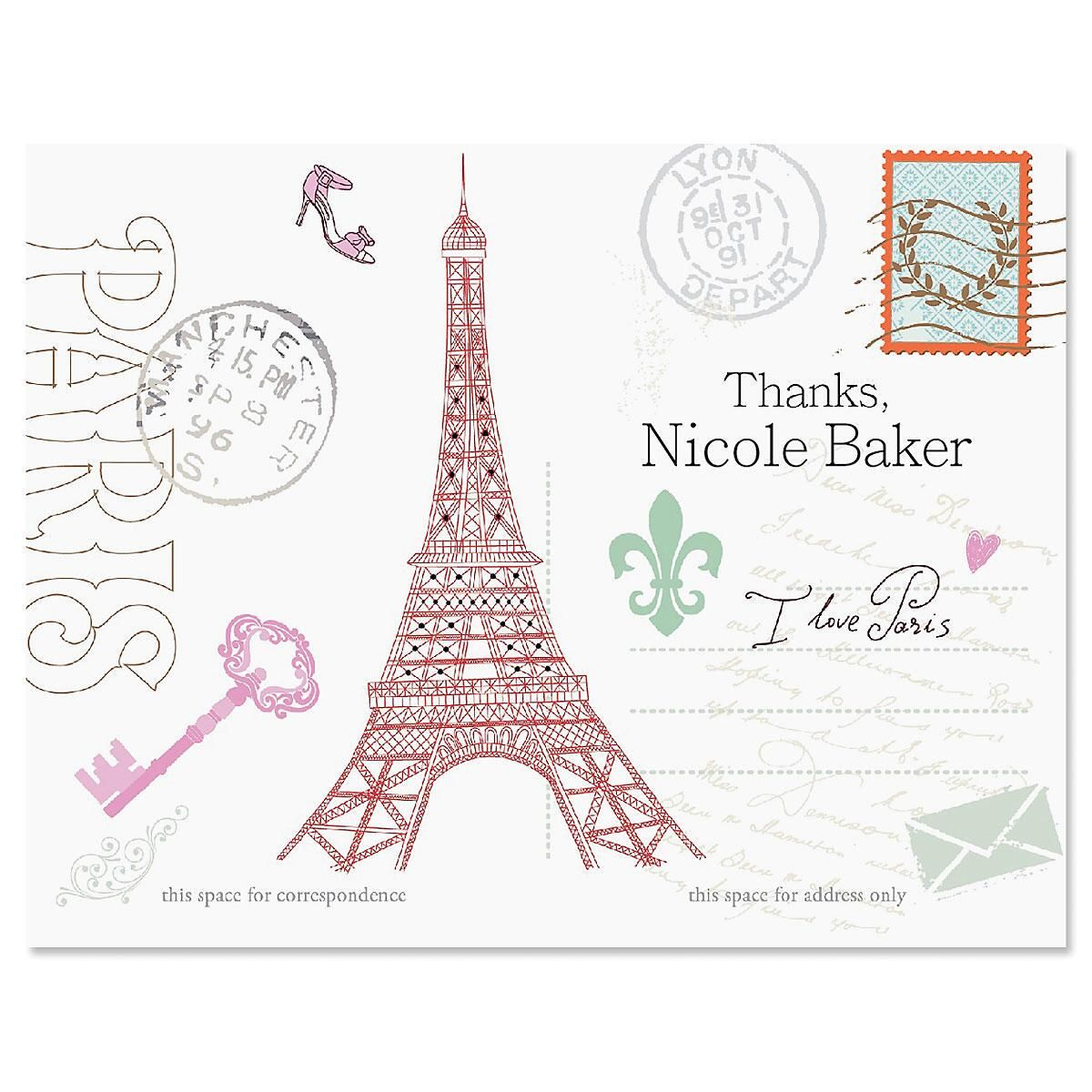 Paris Personalized Thank You Cards