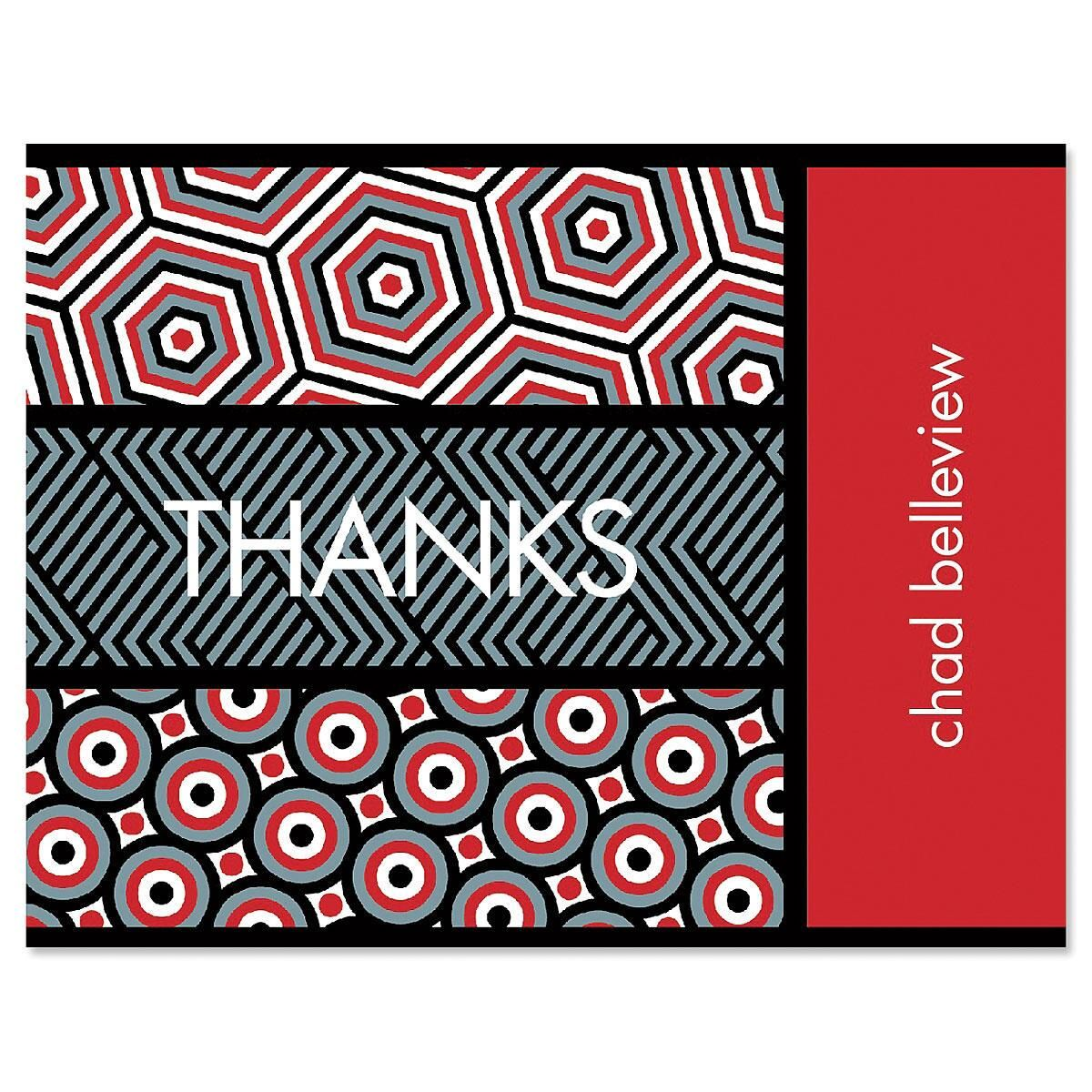 Op Art Personalized Thank You Cards