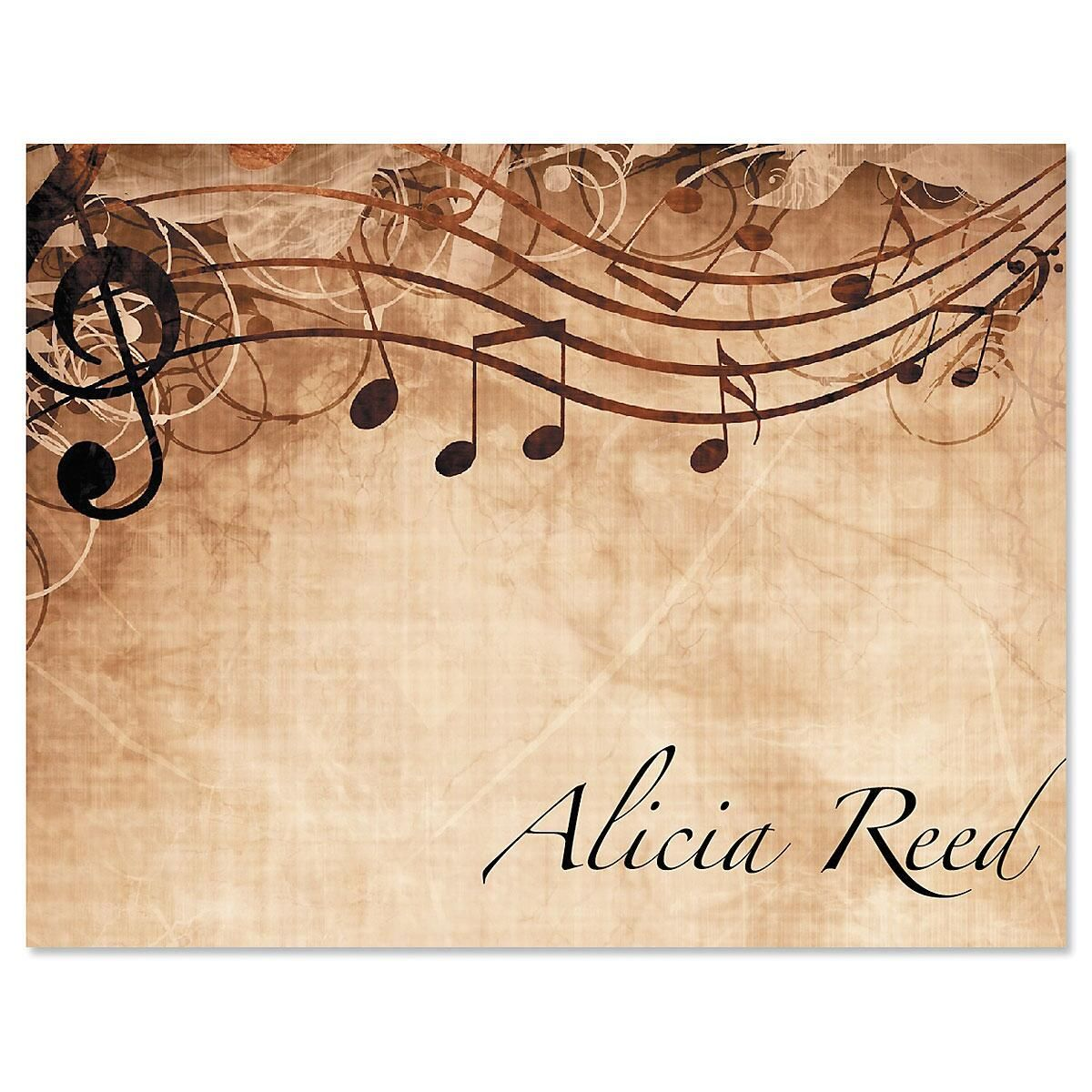 Sheet Music Personalized Note Cards