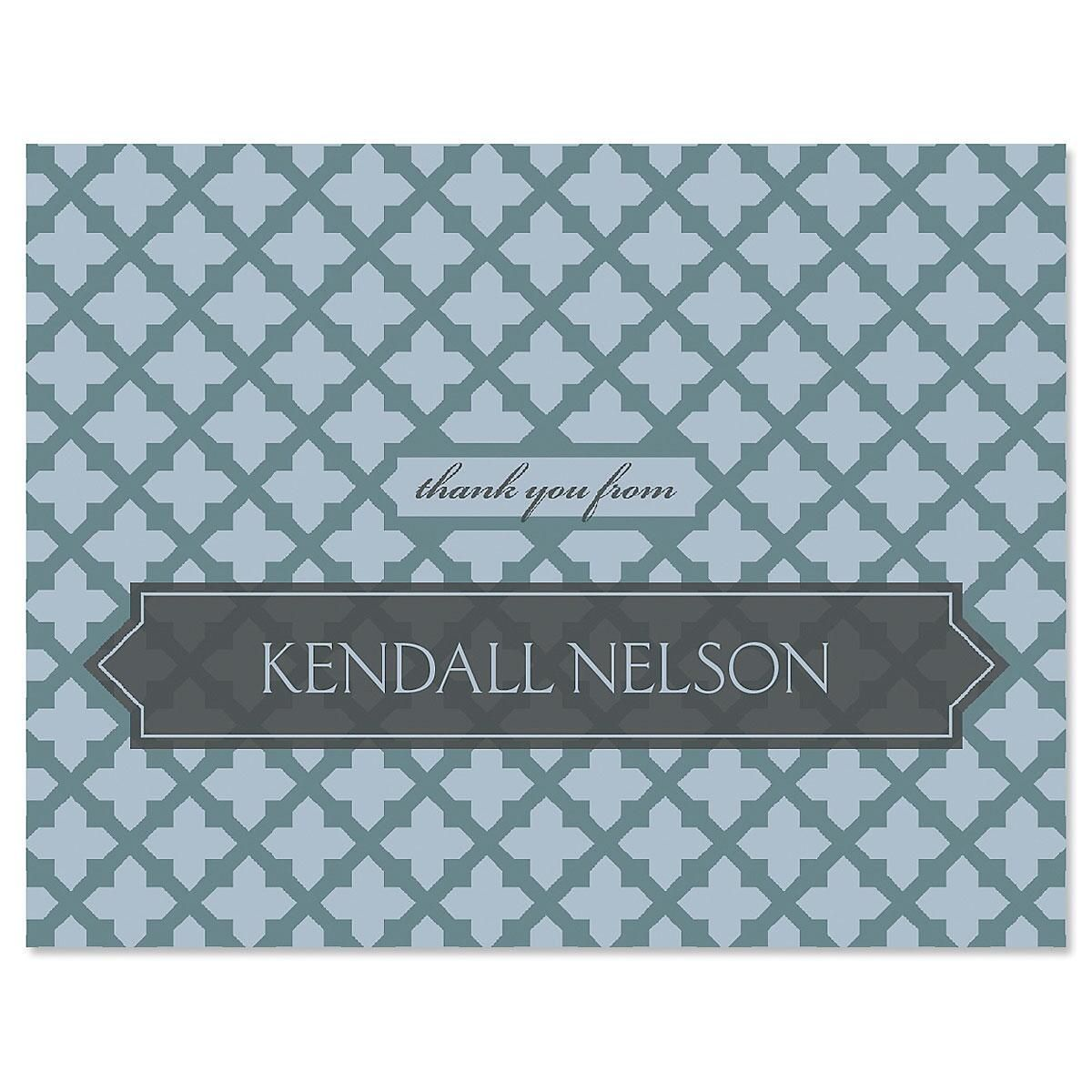 Quatrefoil Personalized Thank You Cards