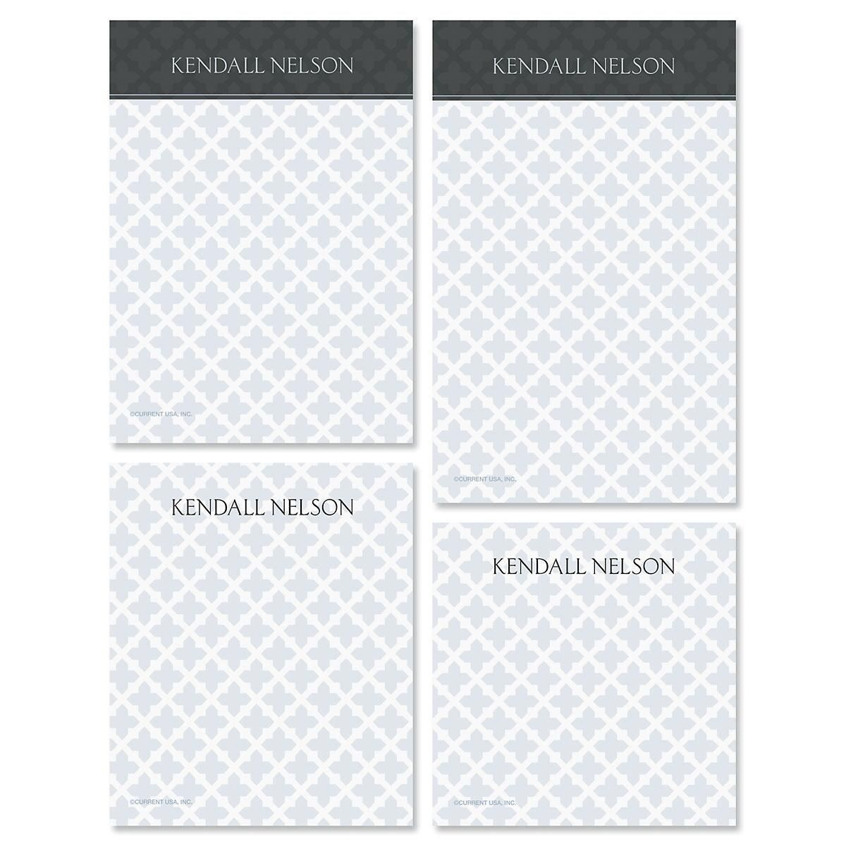 Quatrefoil Personalized Notepad Set
