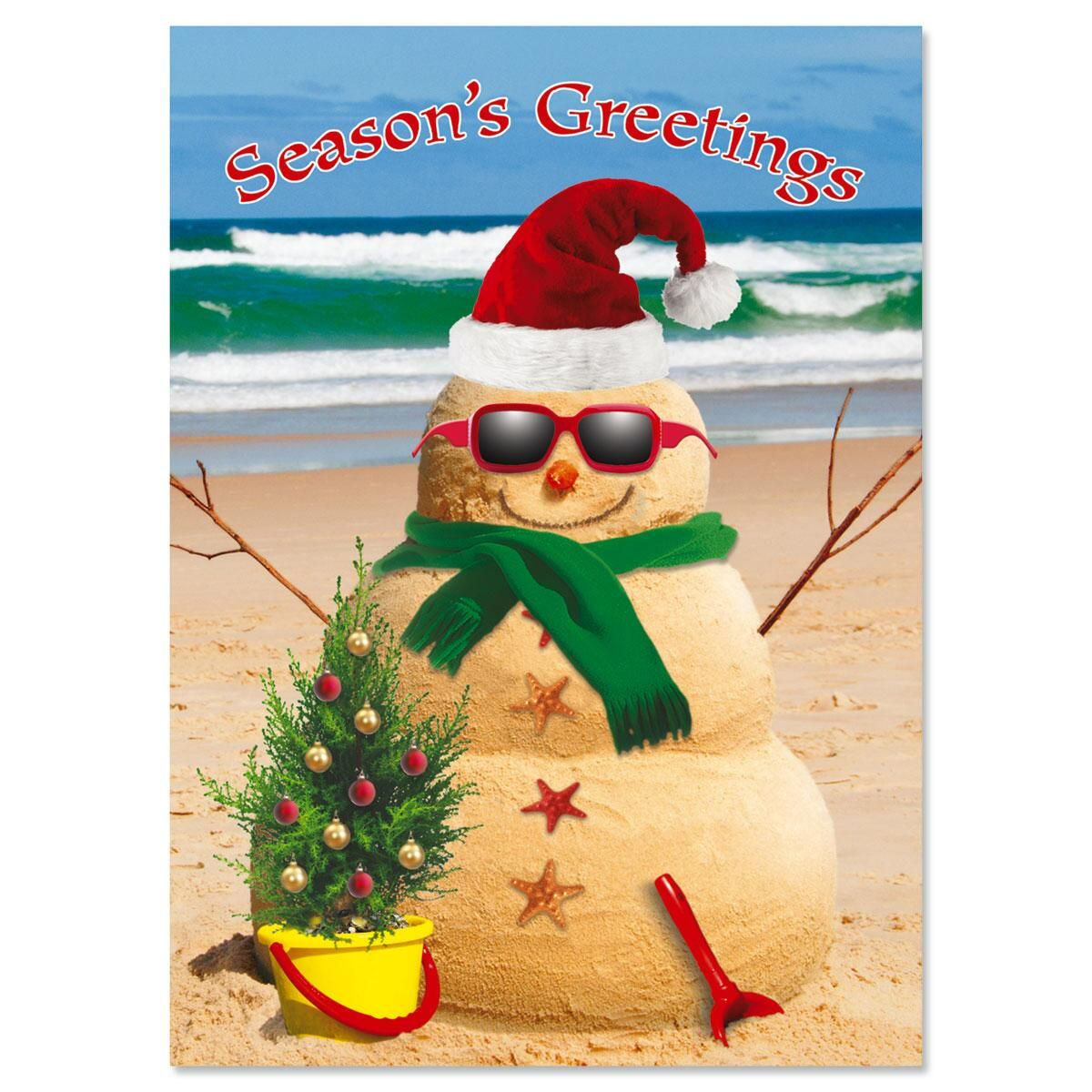Holiday Sandman Personalized Christmas Cards - Set of 18
