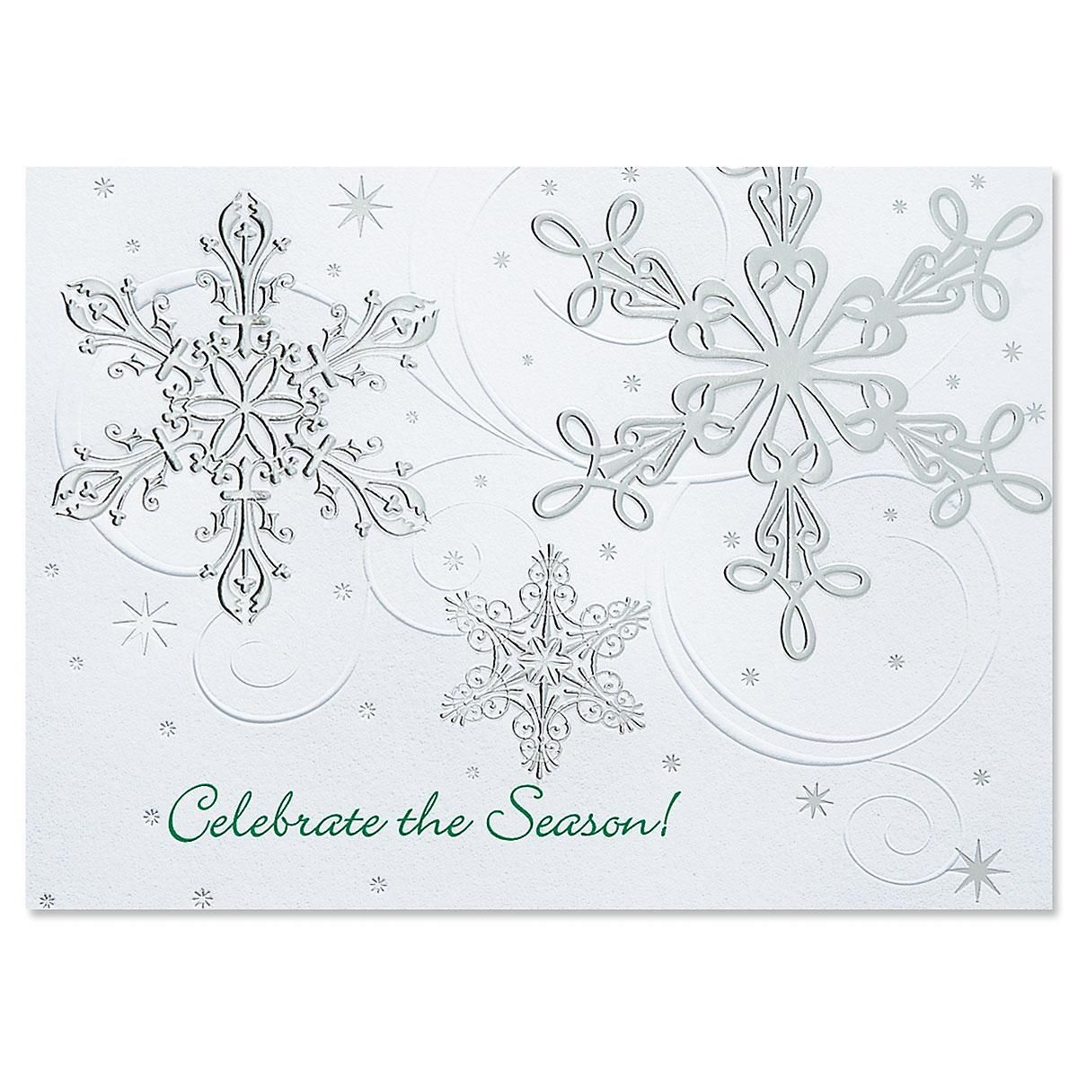 Snow Swirls  Personalized Deluxe Christmas Cards - Set of 56
