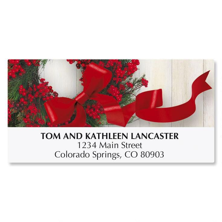 Wreath & Ribbon Christmas Address Labels