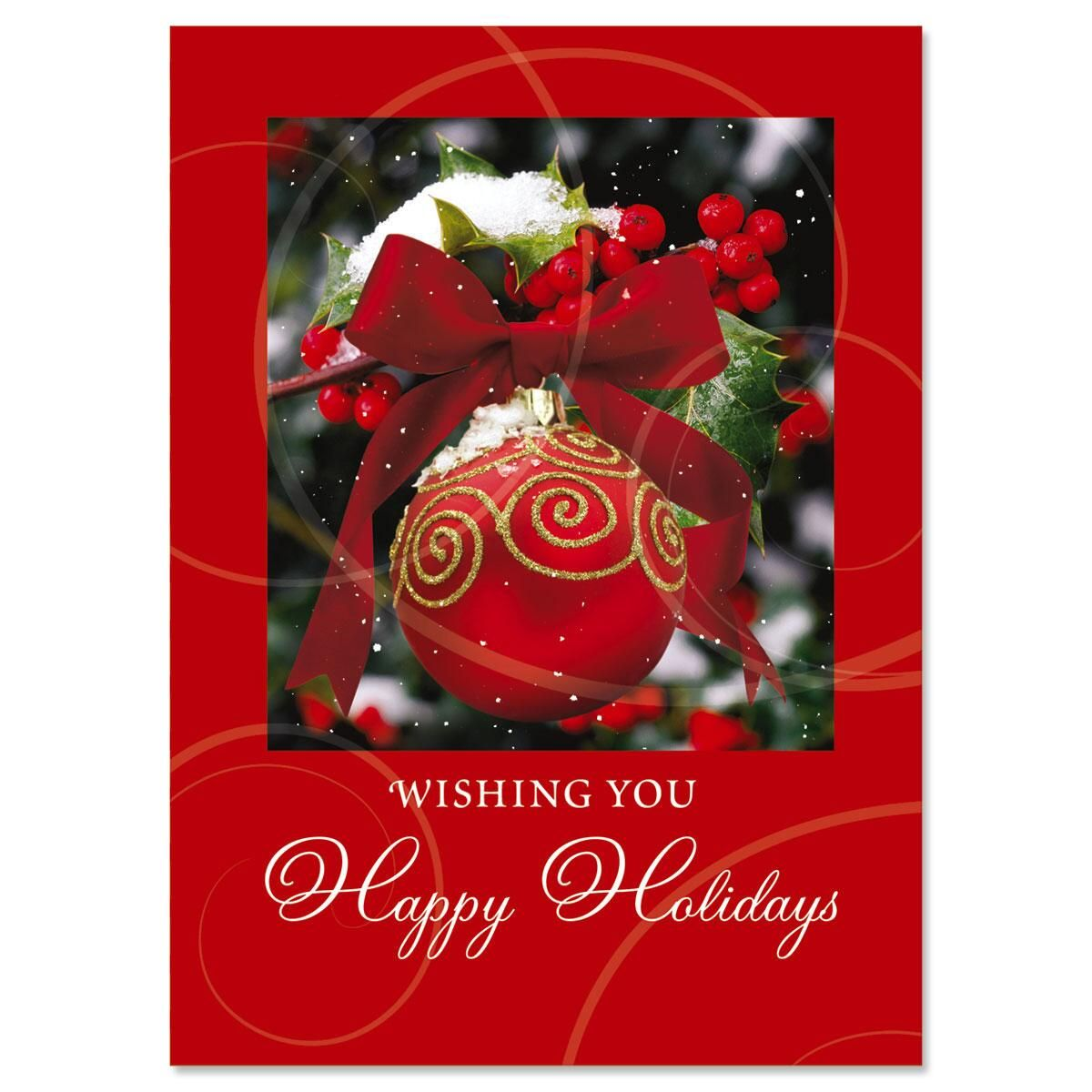 Ornament in Snow Personalized Christmas Cards - Set of 72