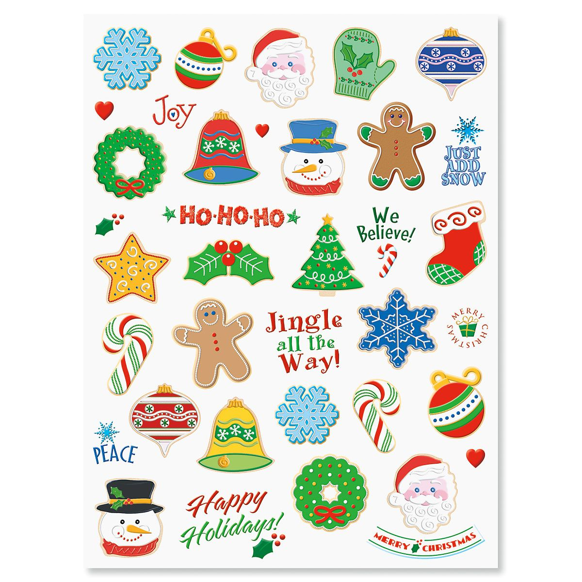 Christmas Cookie Shaped Stickers