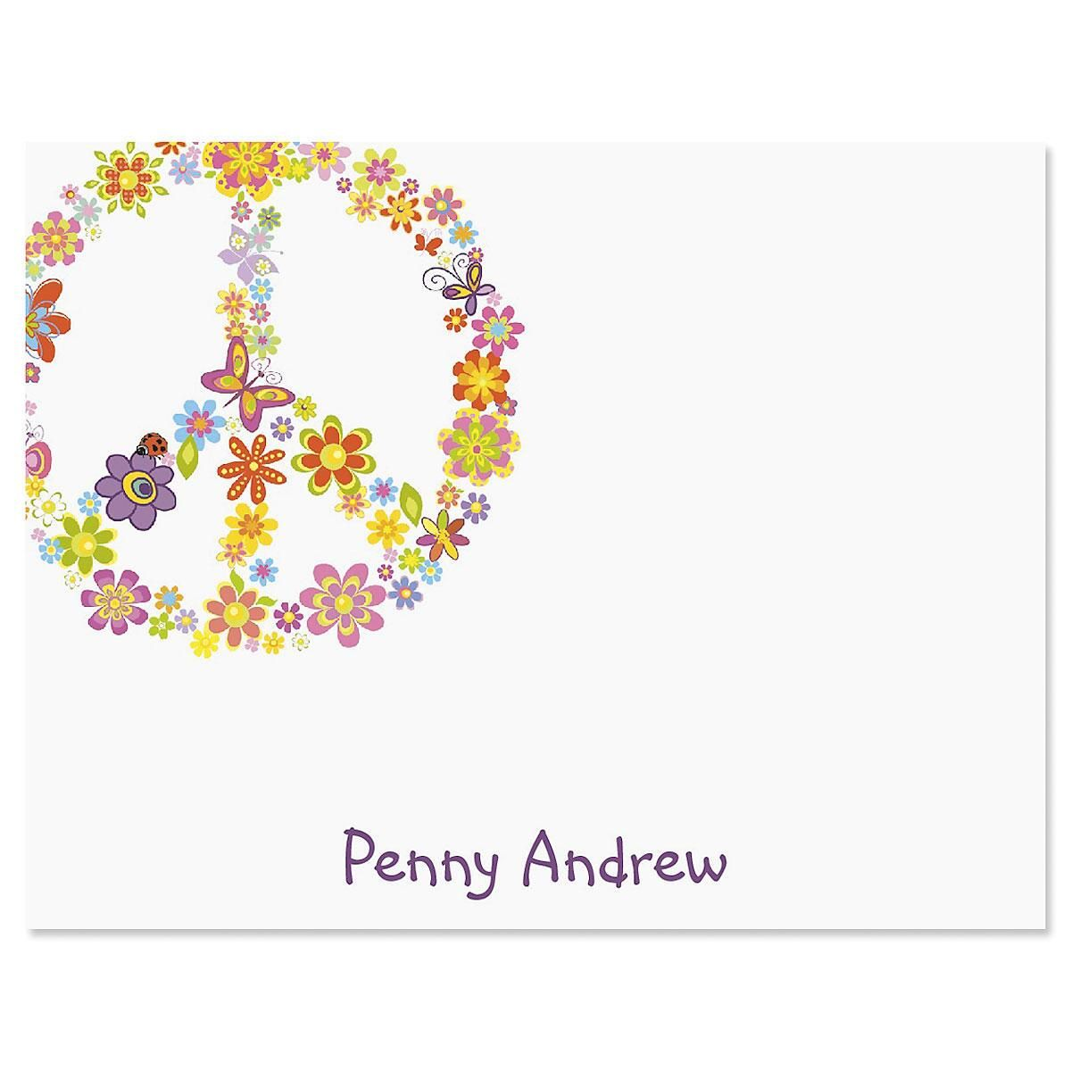 Peace Sign Personalized Correspondence Cards