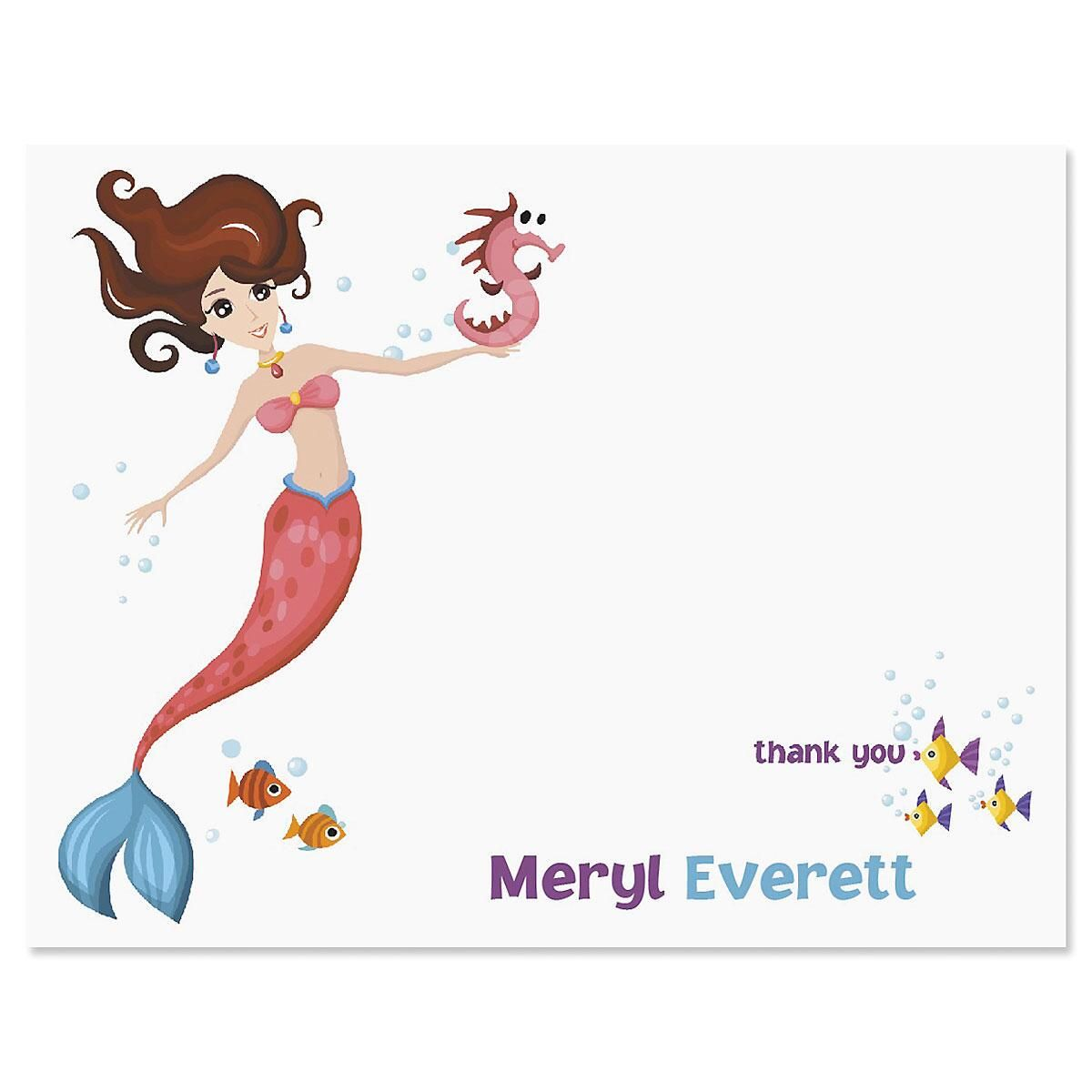 Mermaid Personalized Thank You Cards