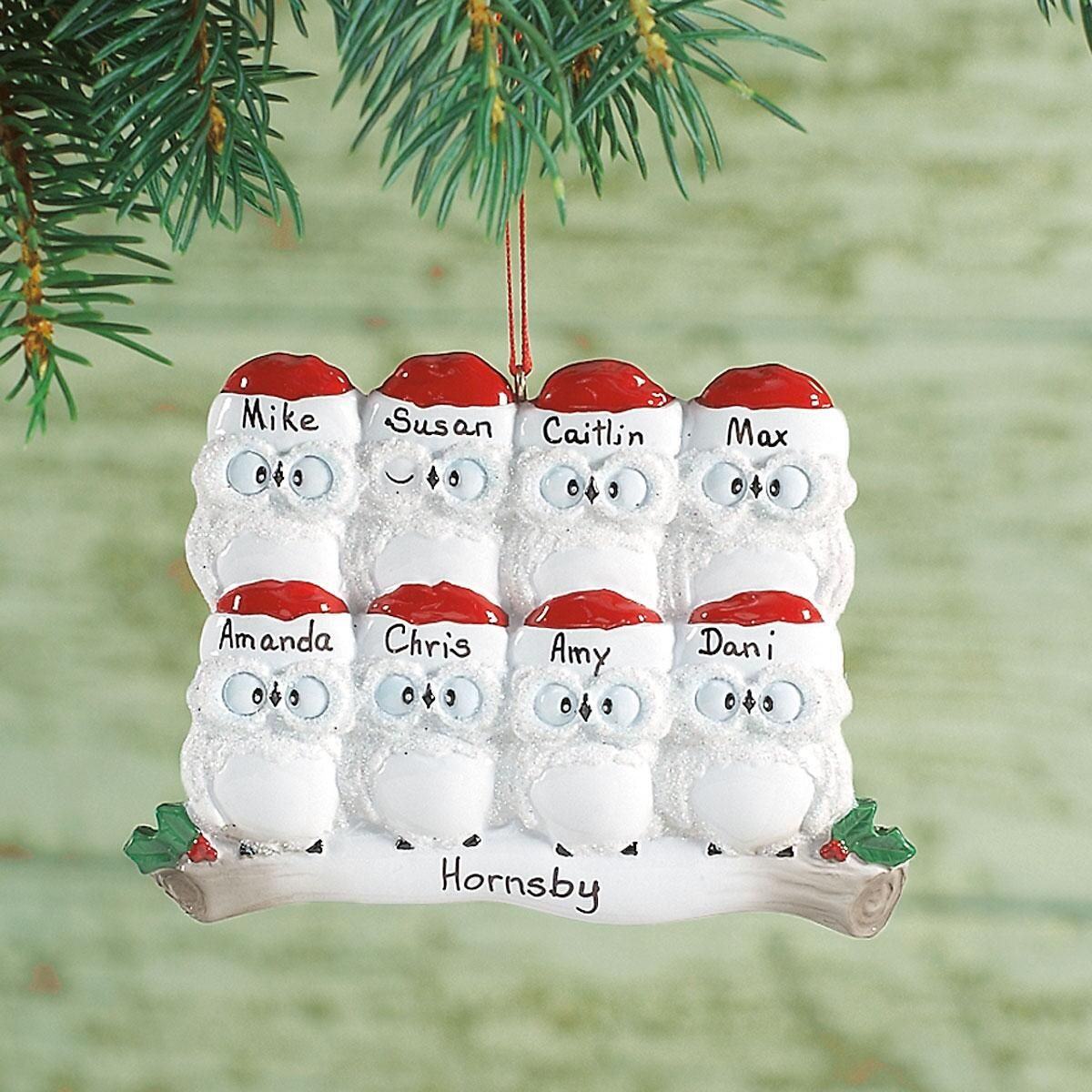 Personalized Owl Family Christmas Ornament