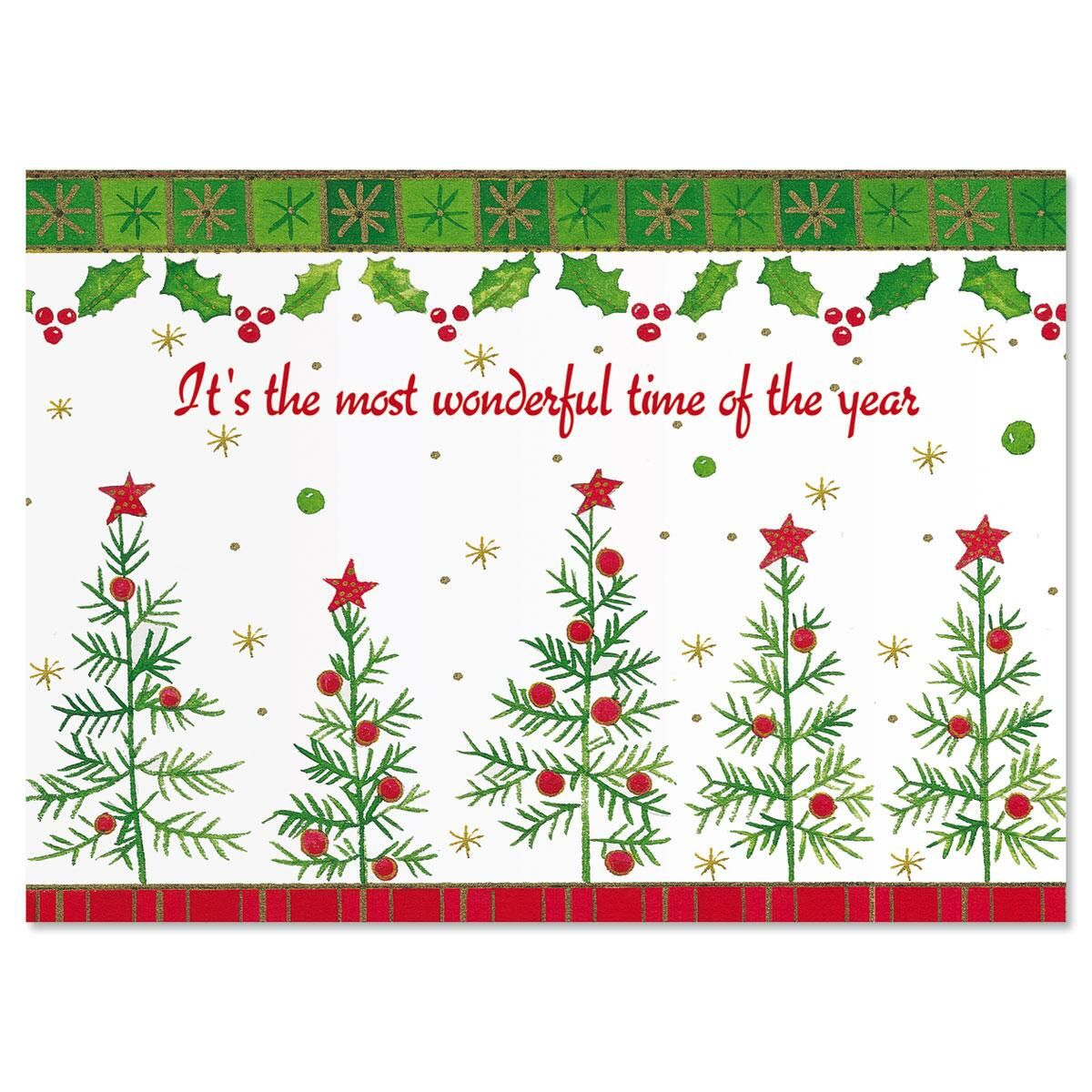 Whimsy Trees Nonpersonalized Christmas Card - Set of 72