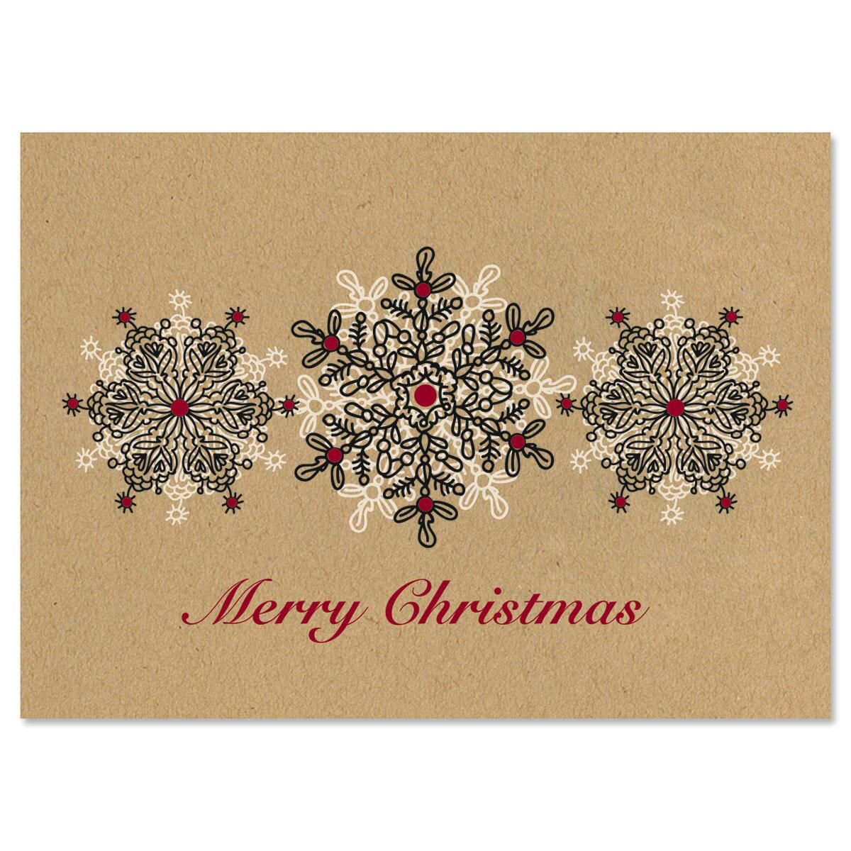 Kraft Stamped Snowflakes Christmas Cards