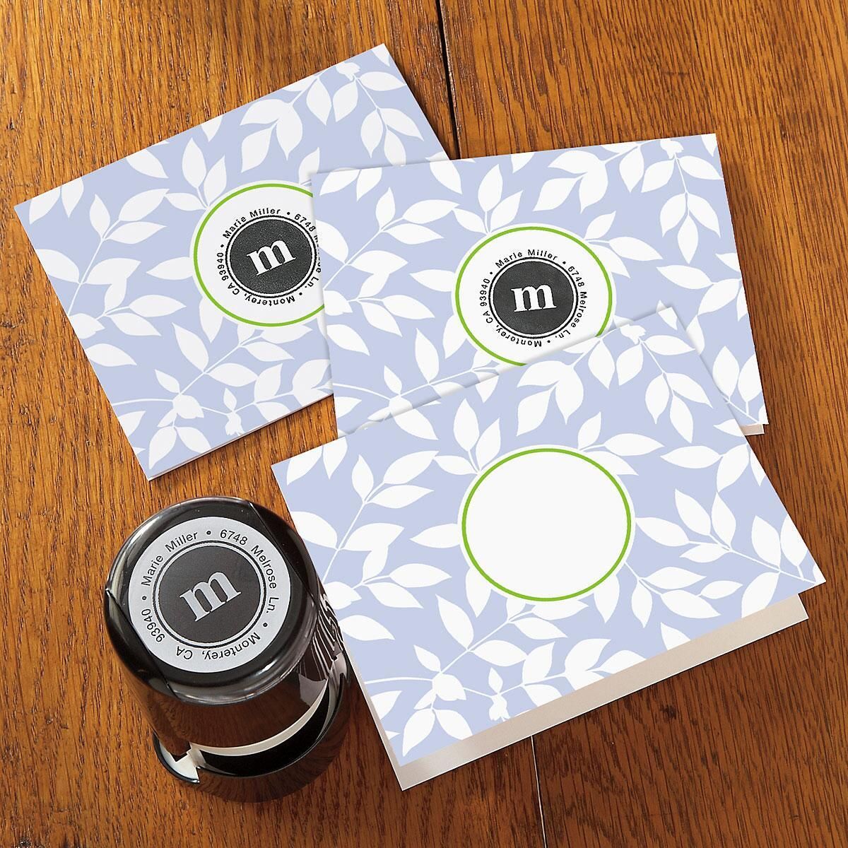 Leaves Stampable Personalized Note Card