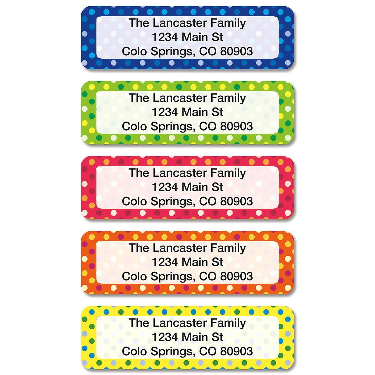 Dot Pattern Rolled Address Labels (5 Designs)