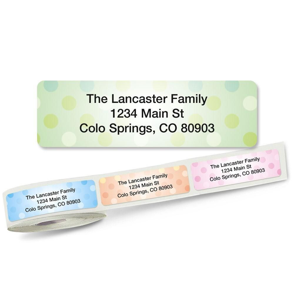 Pastel Dots Rolled Address Labels  (5 designs)