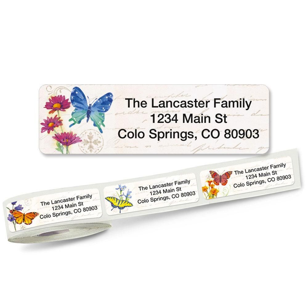 Butterflies & Flowers Rolled Address Labels  (5 designs)