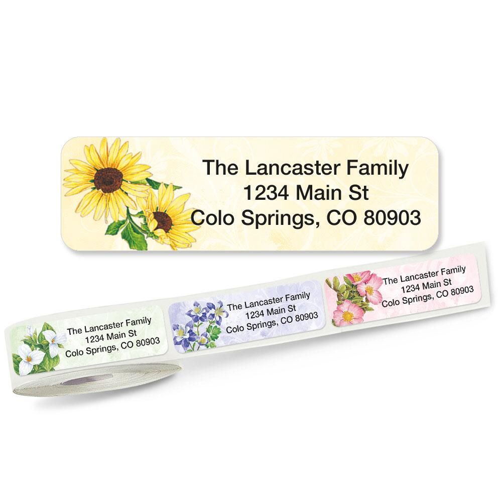 Spring Floral Rolled Address Labels 5 Designs