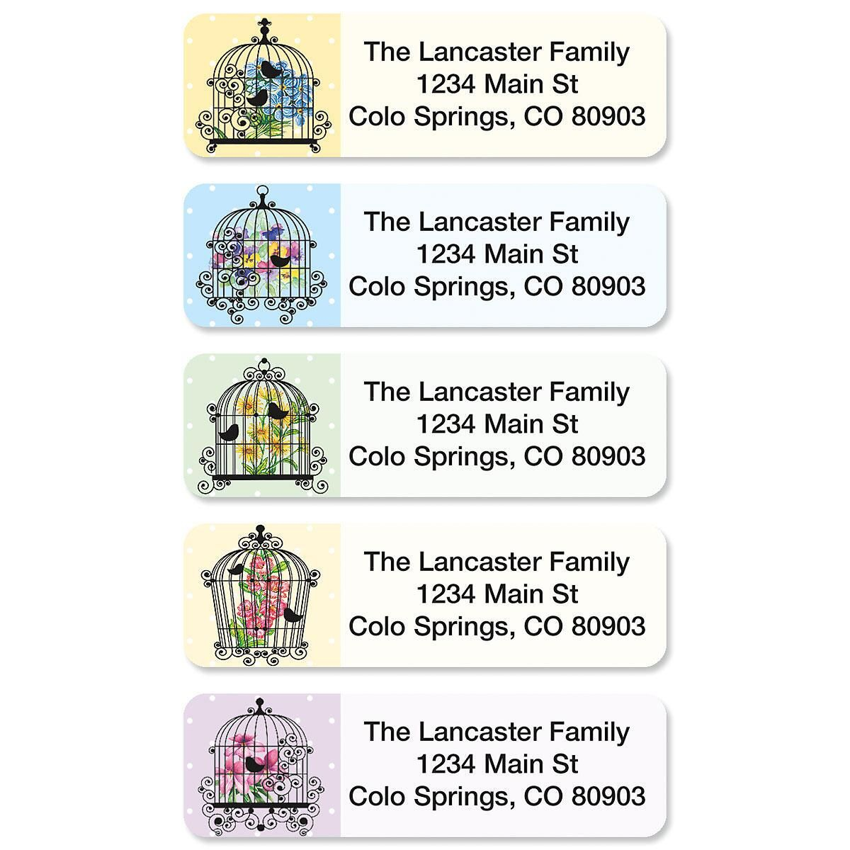 Bird Cages Rolled Address Labels  (5 Designs)