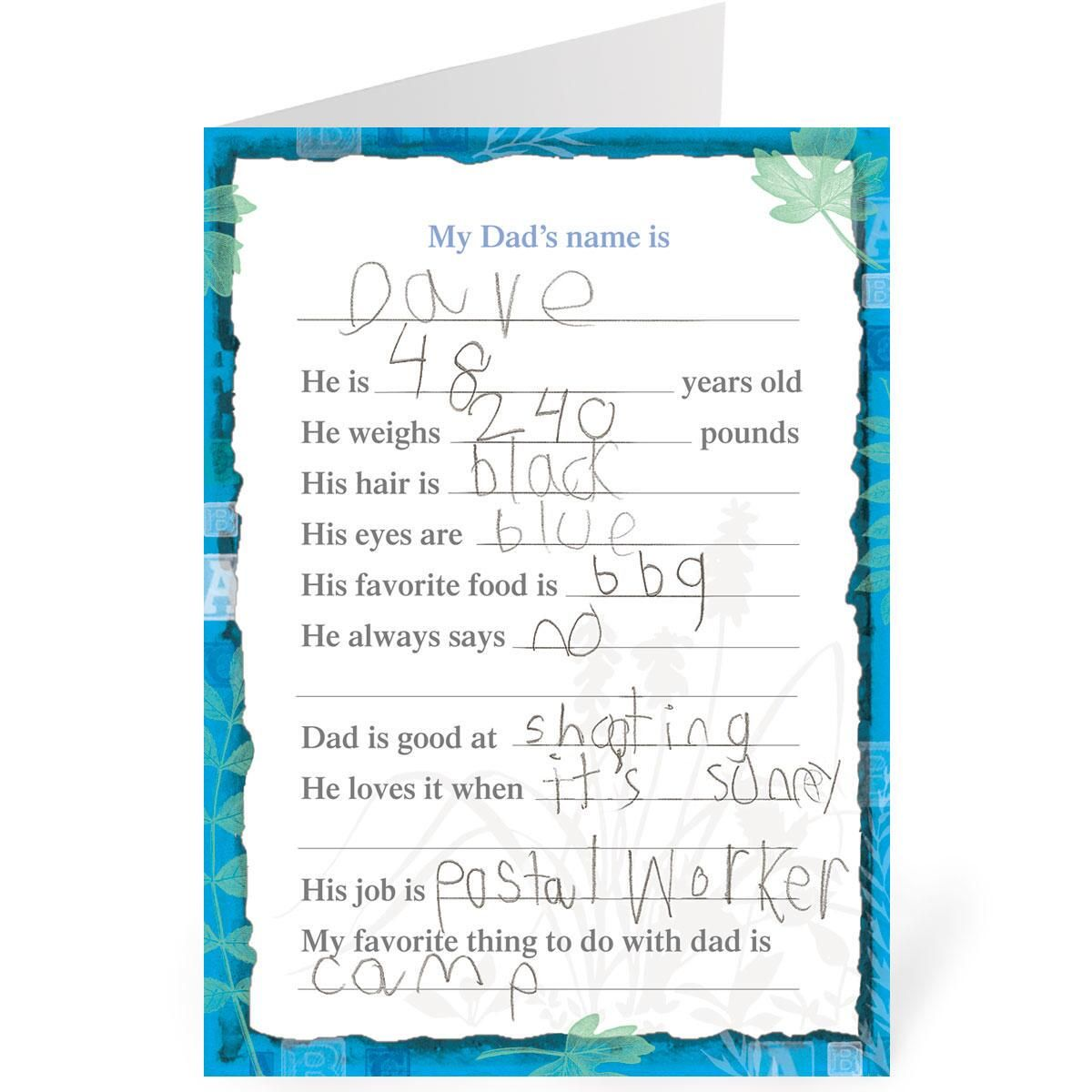 Daddy Fill-in Father's Day Card