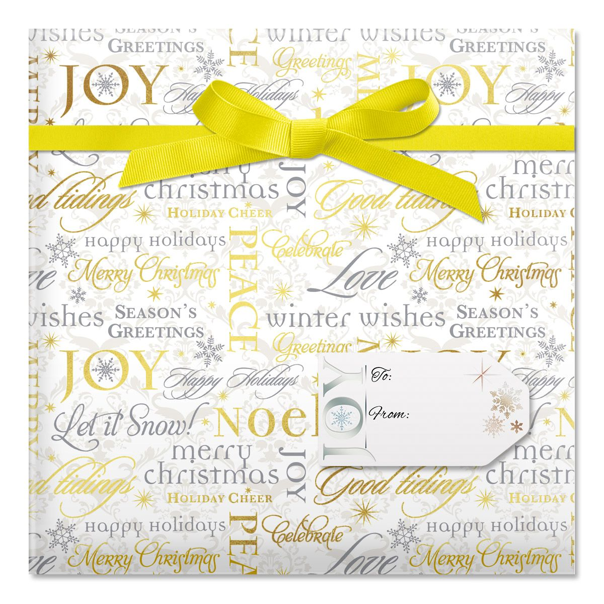 Metallic Script Jumbo Rolled Gift Wrap and Labels