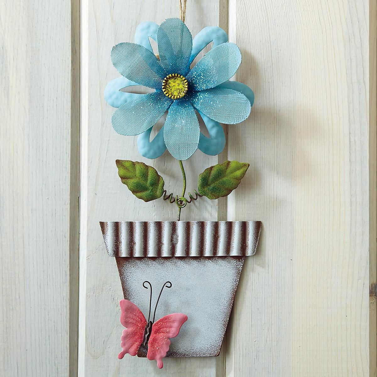 Metal Flower In A Pot Wall Decoration-Blue