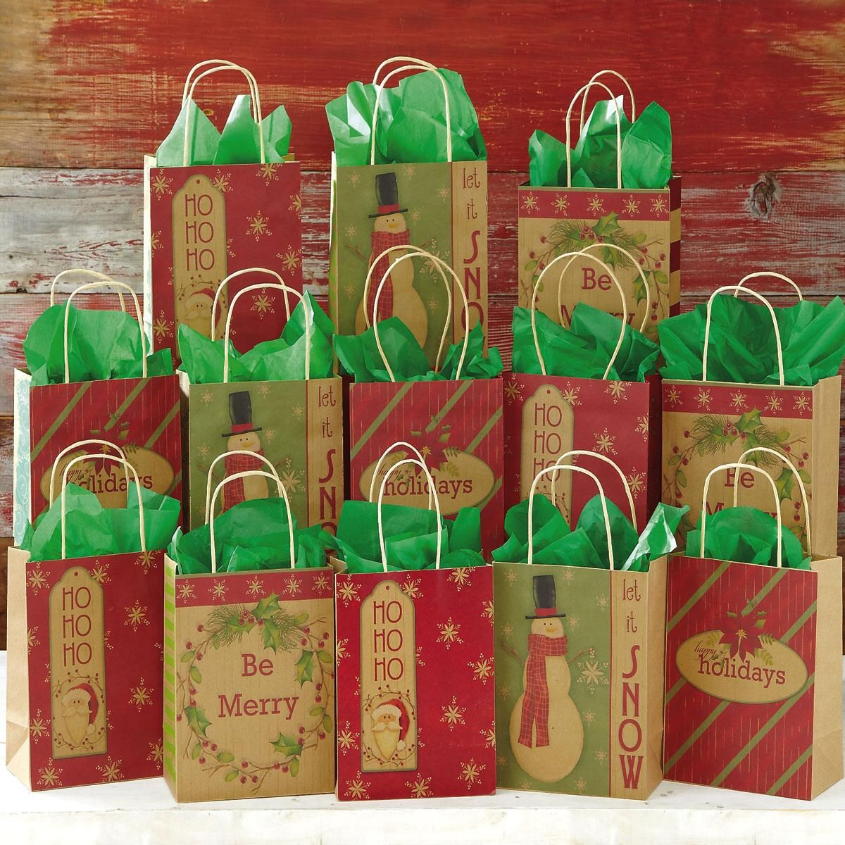 13 Christmas Kraft Gift Bags | Current Catalog