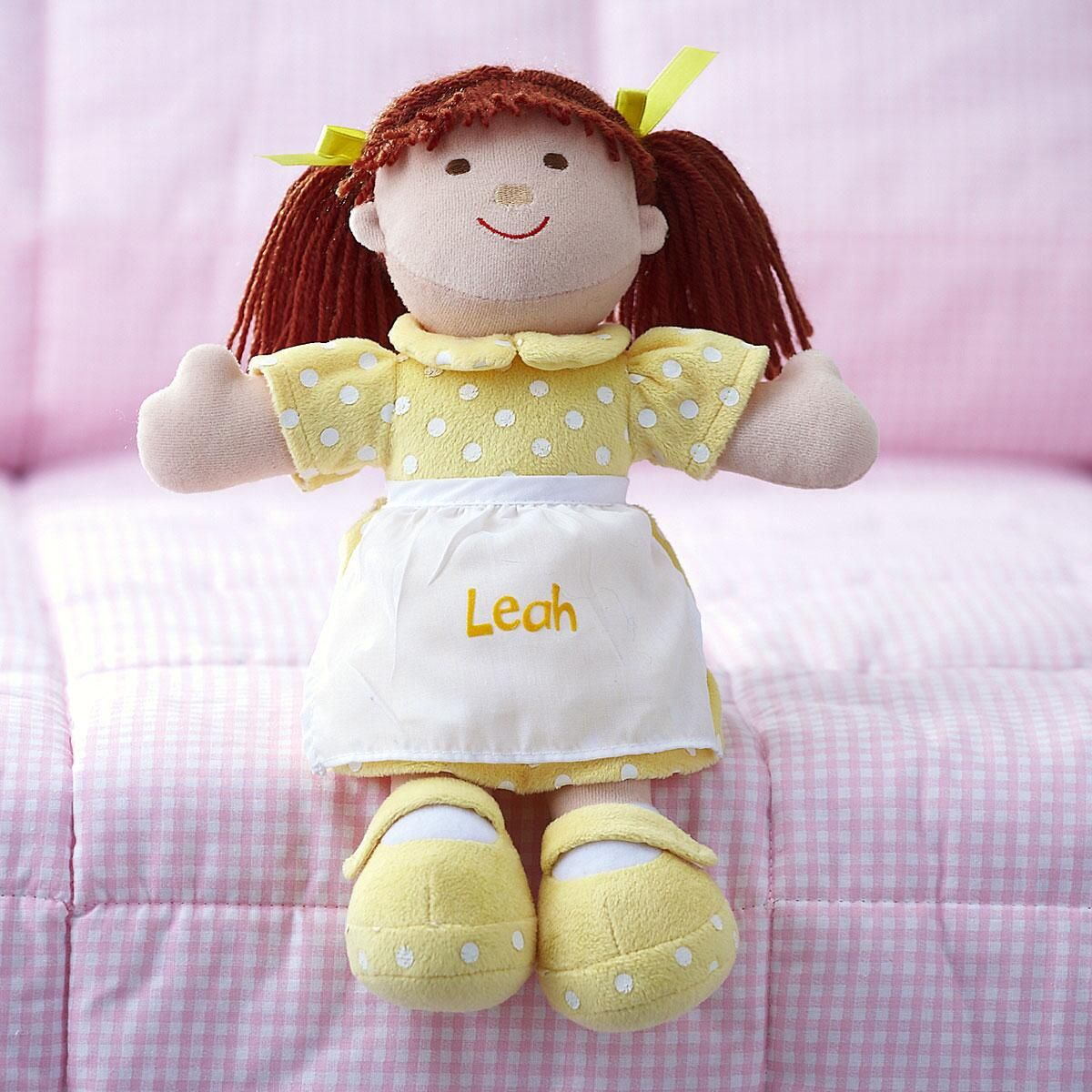 Brunette Cuddly Soft Personalized Doll
