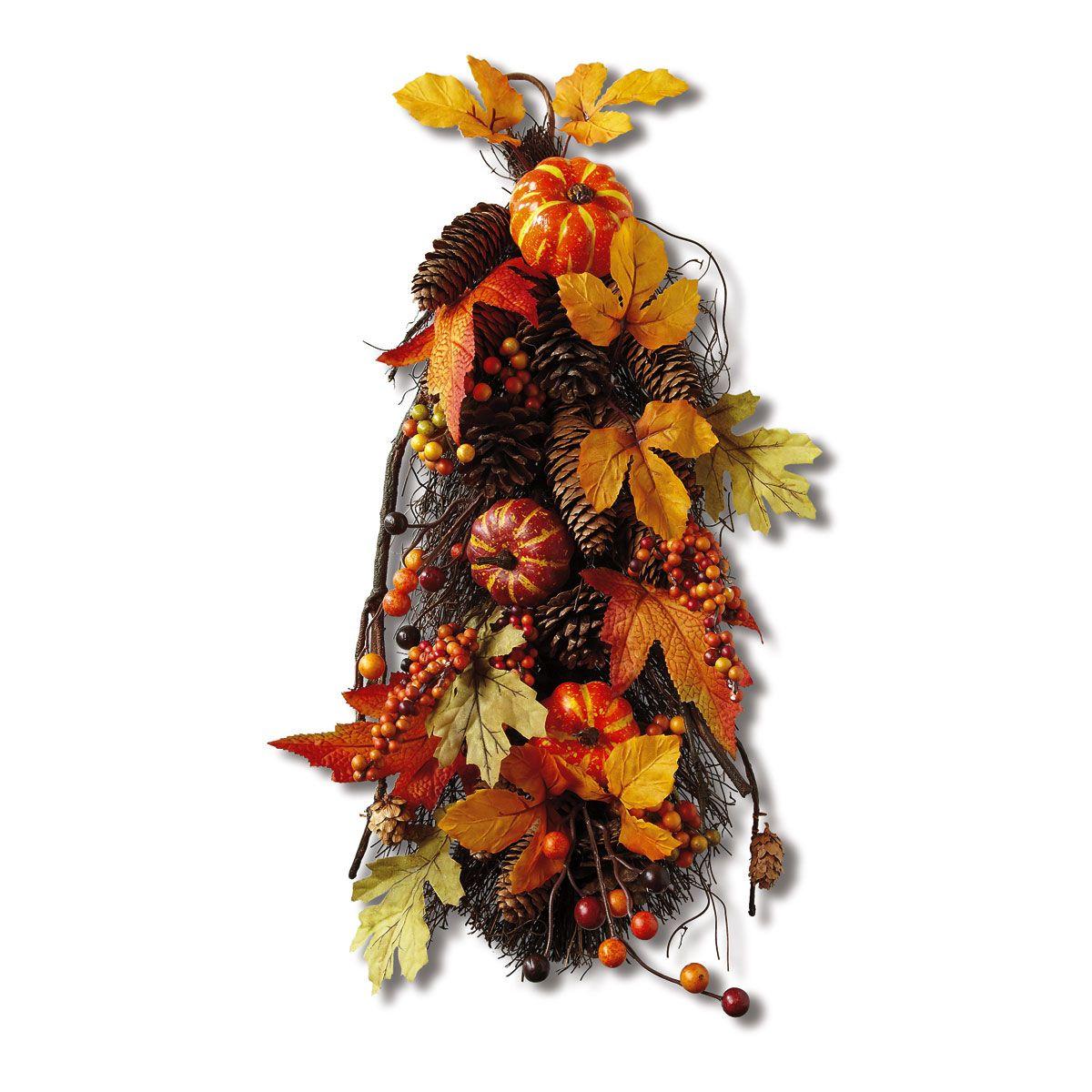 Pumpkin & Pinecone Teardrop Arrangement