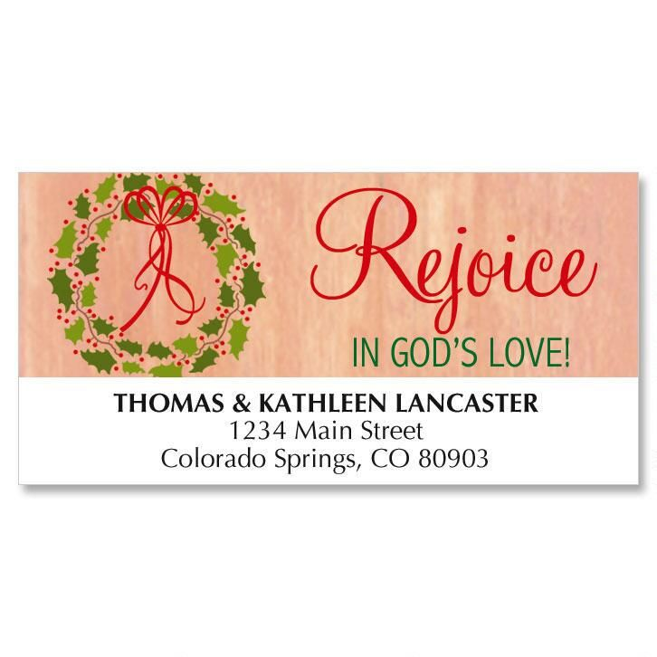 Kraft Wreath Christmas Address Labels