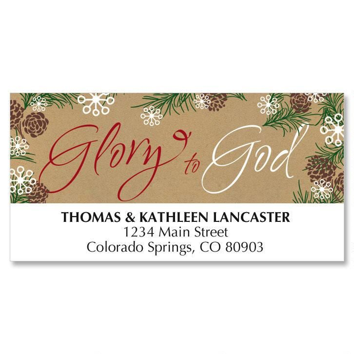 Pine Border Christmas Address Labels