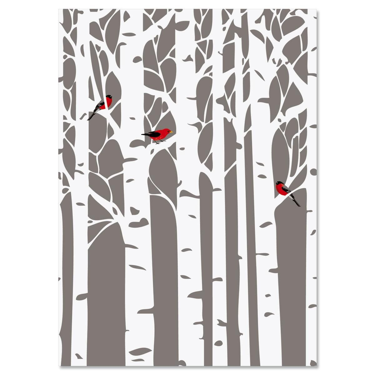 Aspens in Snow Personalized Christmas Cards - Set of 18