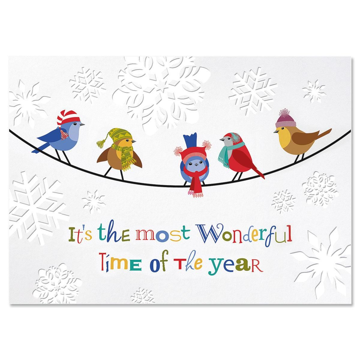 Snowflakes & Birds Personalized Deluxe Christmas Cards - Set of 14